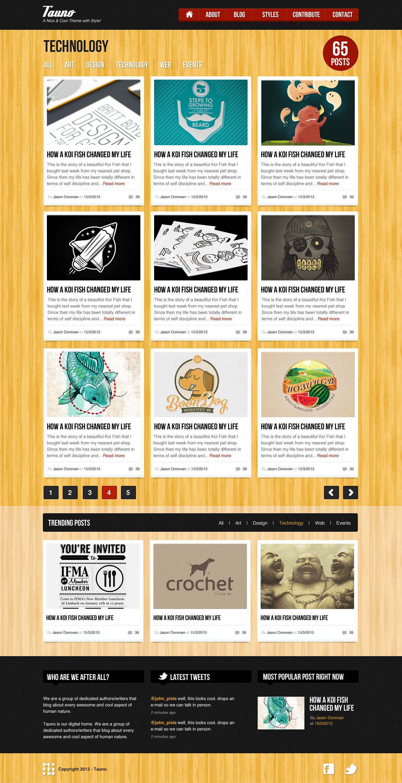 Tauno - A Blog / Magazine .psd Template