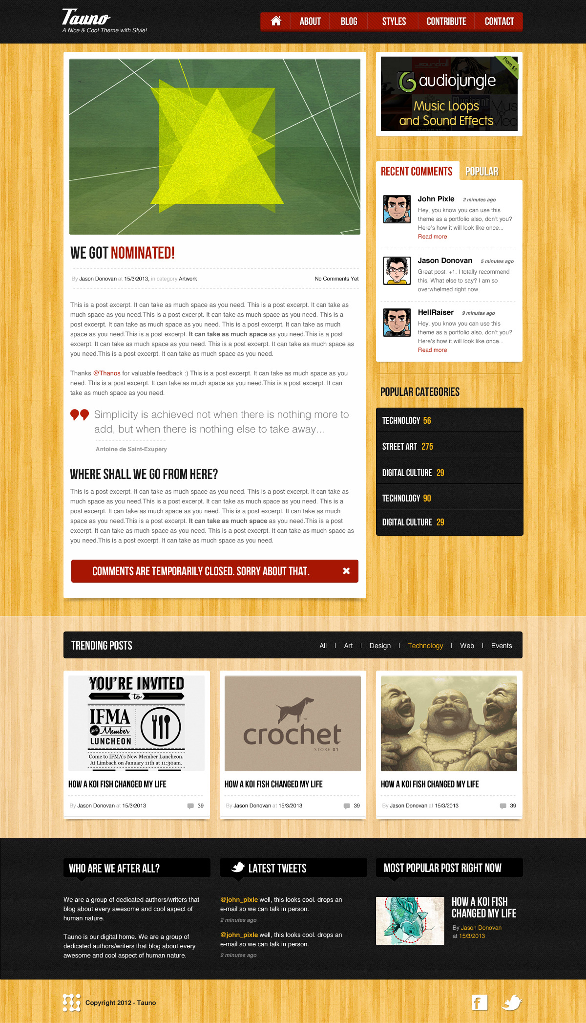 Tauno - A Blog / Magazine .psd Template