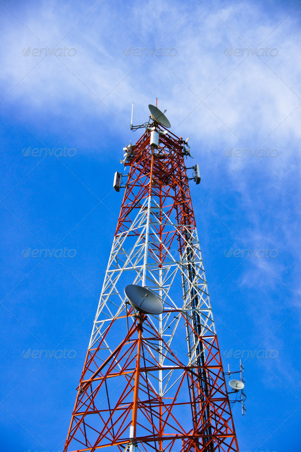 multi antenna communications tower with radio, cellphones, telep - Stock Photo - Images