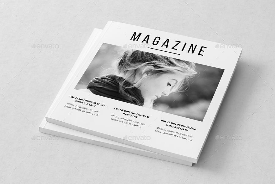 minimal square magazine template by uloel graphicriver. Black Bedroom Furniture Sets. Home Design Ideas