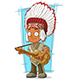 Cartoon Indian Chief with Guitar