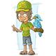 Cartoon Standing Zoo Worker in Green Cap
