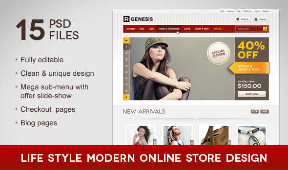 Life Style Modern Online Store Design - Retail PSD Templates