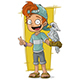 Cartoon Redhead Boy with Parrot