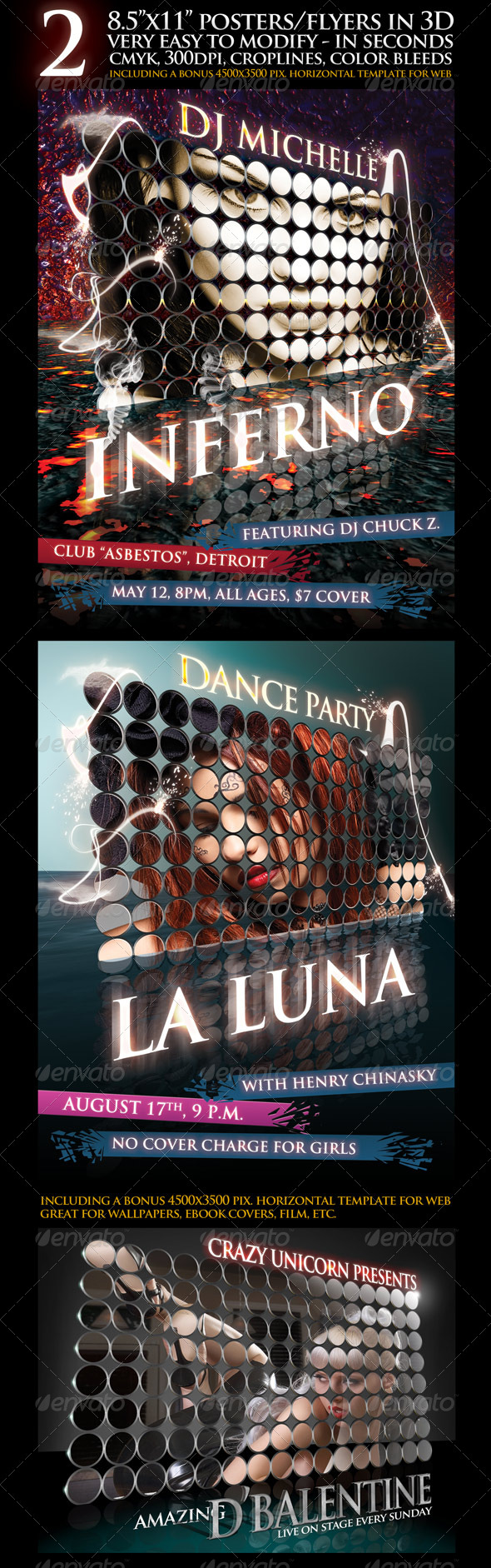 3D Rendered Poster with 2 Backgrounds and Bonus - Clubs & Parties Events