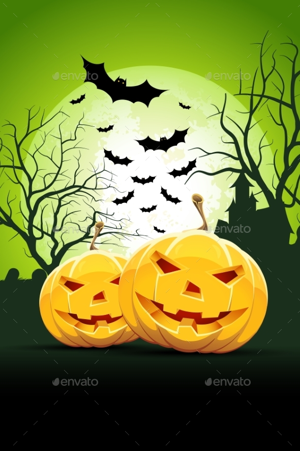Halloween Party Card with Pumpkins