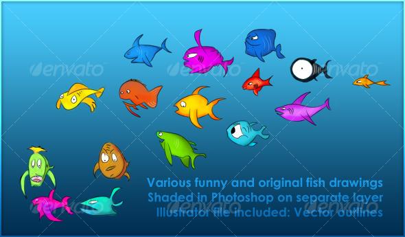 Various fish drawings
