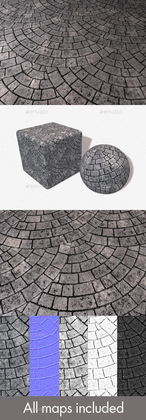 3DOcean Circular Grey Brick Paving Seamless Texture 17561017