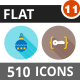510 Vector Flat Shadowed Icons Bundle (Vol-11)