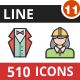 510 Vector Filled Line Icons Bundle (Vol-11)