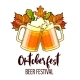 Octoberfest Festival Cartoon Design with Glasses