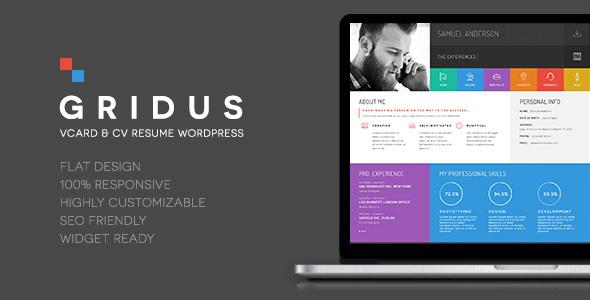 Download Gridus vCard & CV Resume WordPress nulled download