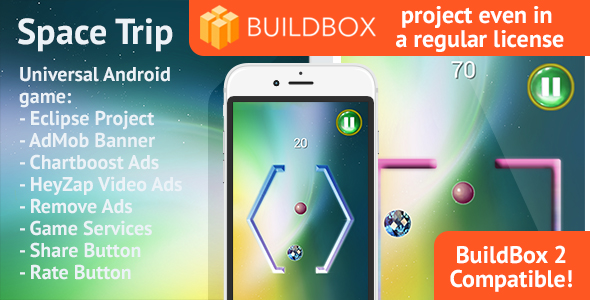 BuildBox Space Trip: Android, Easy Reskin, AdMob & Chartboost, Remove Ads (Games) Download