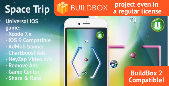 BuildBox Space Trip: iOS, Easy Reskin, AdMob & Chartboost, Remove Ads