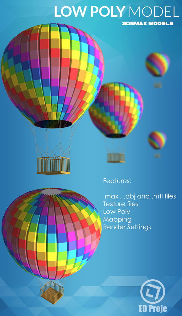 Low Poly Model 09 Car Air Ballon - 3DOcean Item for Sale