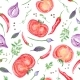 Tomato And Spices Fresh Watercolor Background