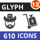 610 Vector Glyph Icons Bundle (Vol-12)