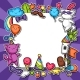 Carnival Party Kawaii Background. Cute Sticker