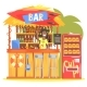 Beach Bar In Tropical Style Design With Smiling