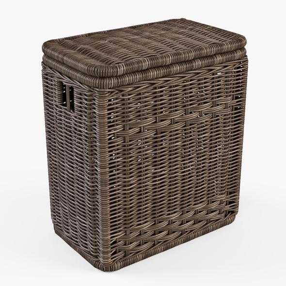 Wicker Laundry Hamper 08 (Brown Color) - 3DOcean Item for Sale