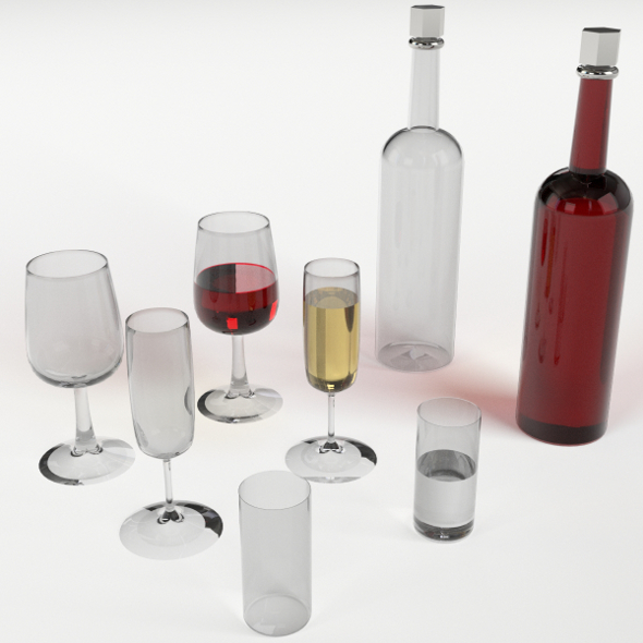 Wine bottles and glasses set - 3DOcean Item for Sale