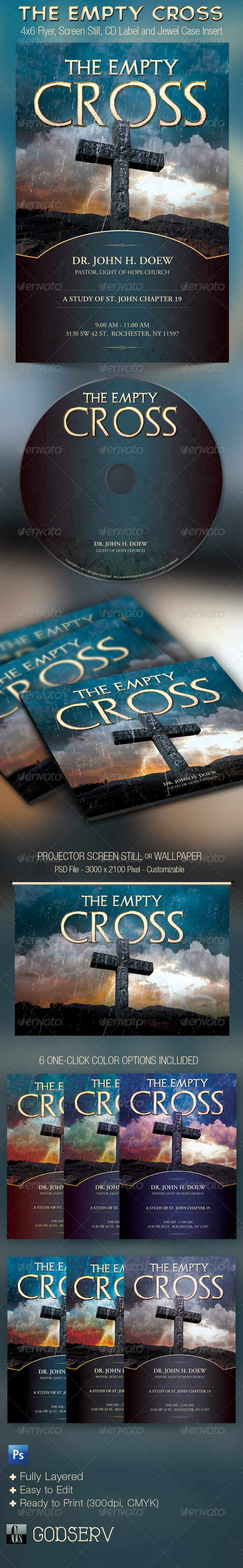 The Empty Cross Church Flyer, Slide and CD Template - Church Flyers