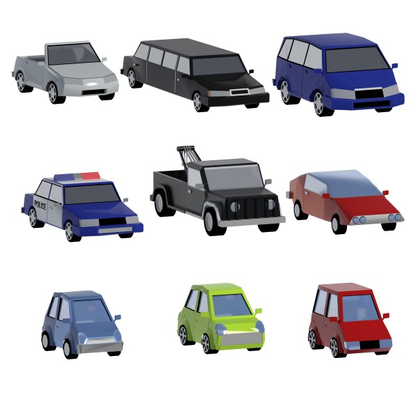 Lowpoly cars set - 3DOcean Item for Sale