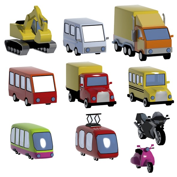 Lowpoly vehicles set - 3DOcean Item for Sale