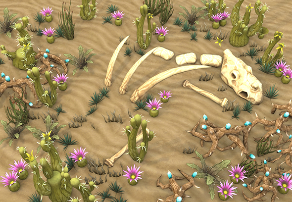 3DOcean Low poly desert plants pack 17621035