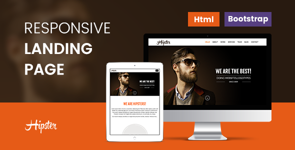 Download Hipster Responsive Landing Page-4 Versions nulled download