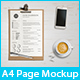 A4 One Page Paper Sheet Mockup