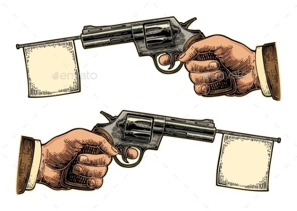 Male Hand Holding Revolver with Flag for Text