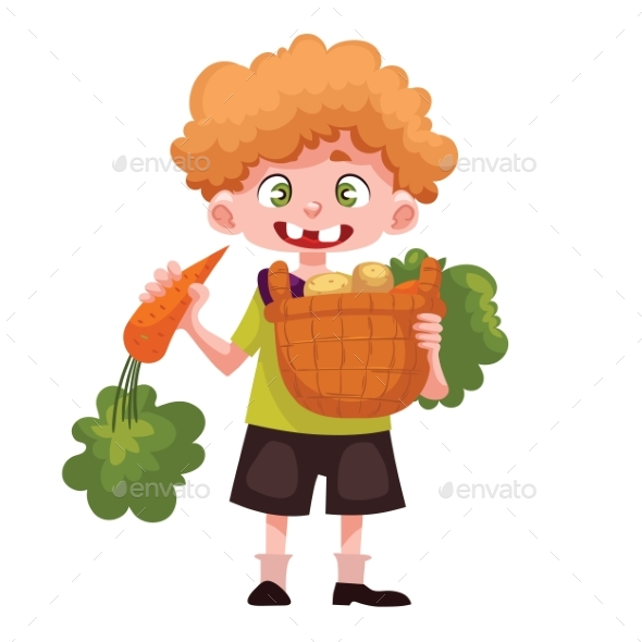 Boy Holding Baskets of Fruits and Vegetable