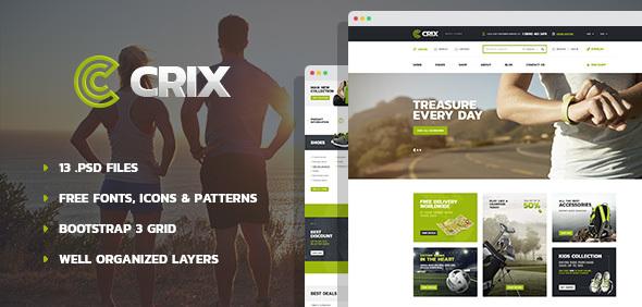 Crix - Modern Sport Goods Store PSD Template