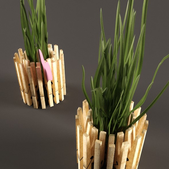 Plant in pot from clothespins - 3DOcean Item for Sale