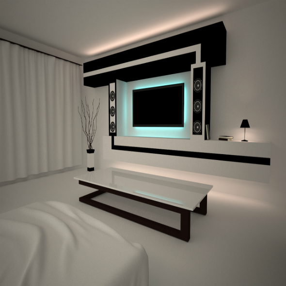 Minimalizm interior night room - 3DOcean Item for Sale