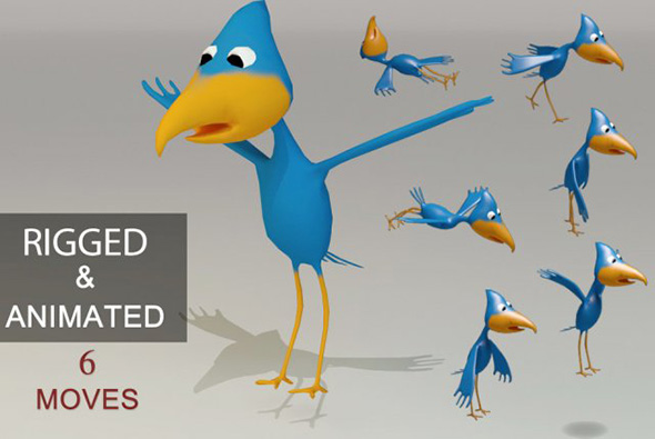 Low Poly Cartoon Bird - Rigged - 3DOcean Item for Sale
