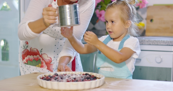 Download Adorable Little Girl Engrossed In Baking a Pie nulled download