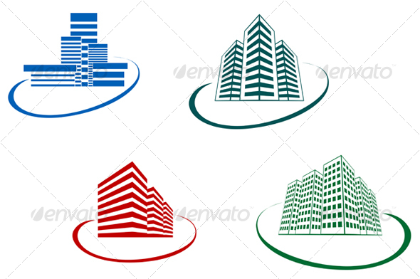 Symbols Of Modern Buildings Graphicriver