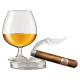 Brandy Glass with Cigar and Ashtray.