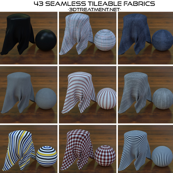 43 Seamless Tileable Fabric Shaders  - 3DOcean Item for Sale