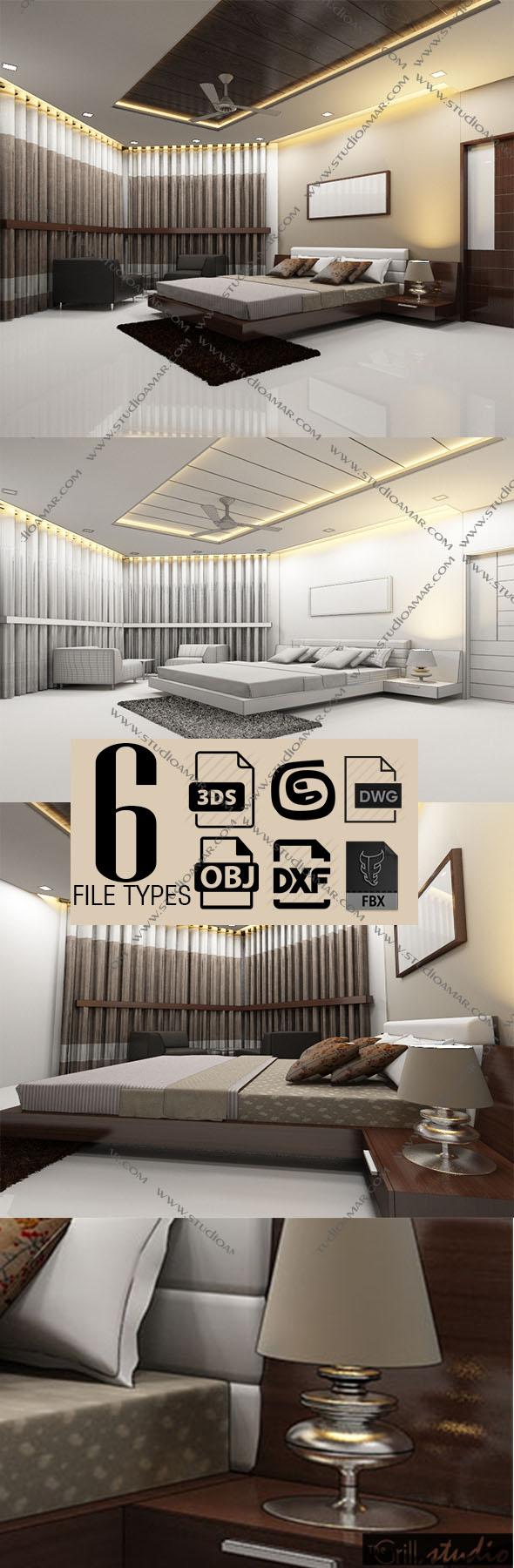 Realistic Modern bedroom 140 - 3DOcean Item for Sale