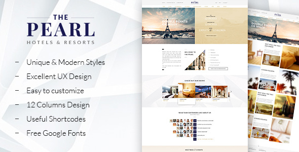 ThePearl - Hotels and Resorts WordPress theme