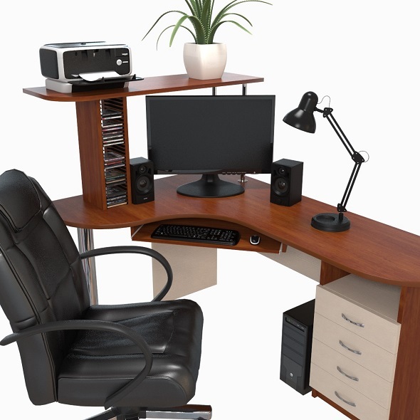 computer desk workstation - 3DOcean Item for Sale
