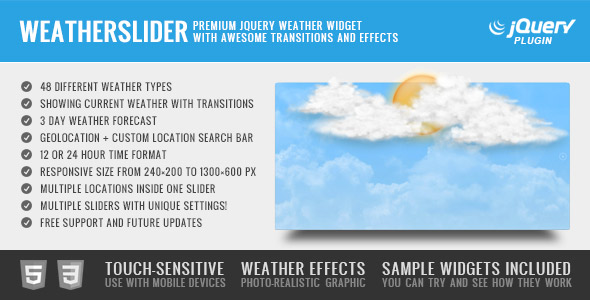 WeatherSlider Premium jQuery Weather Widget