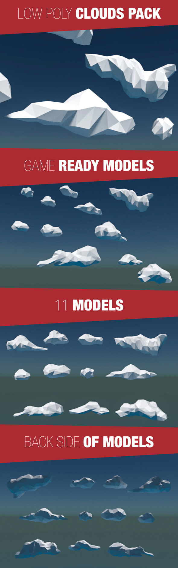 Low Poly Cloud Pack - 3DOcean Item for Sale
