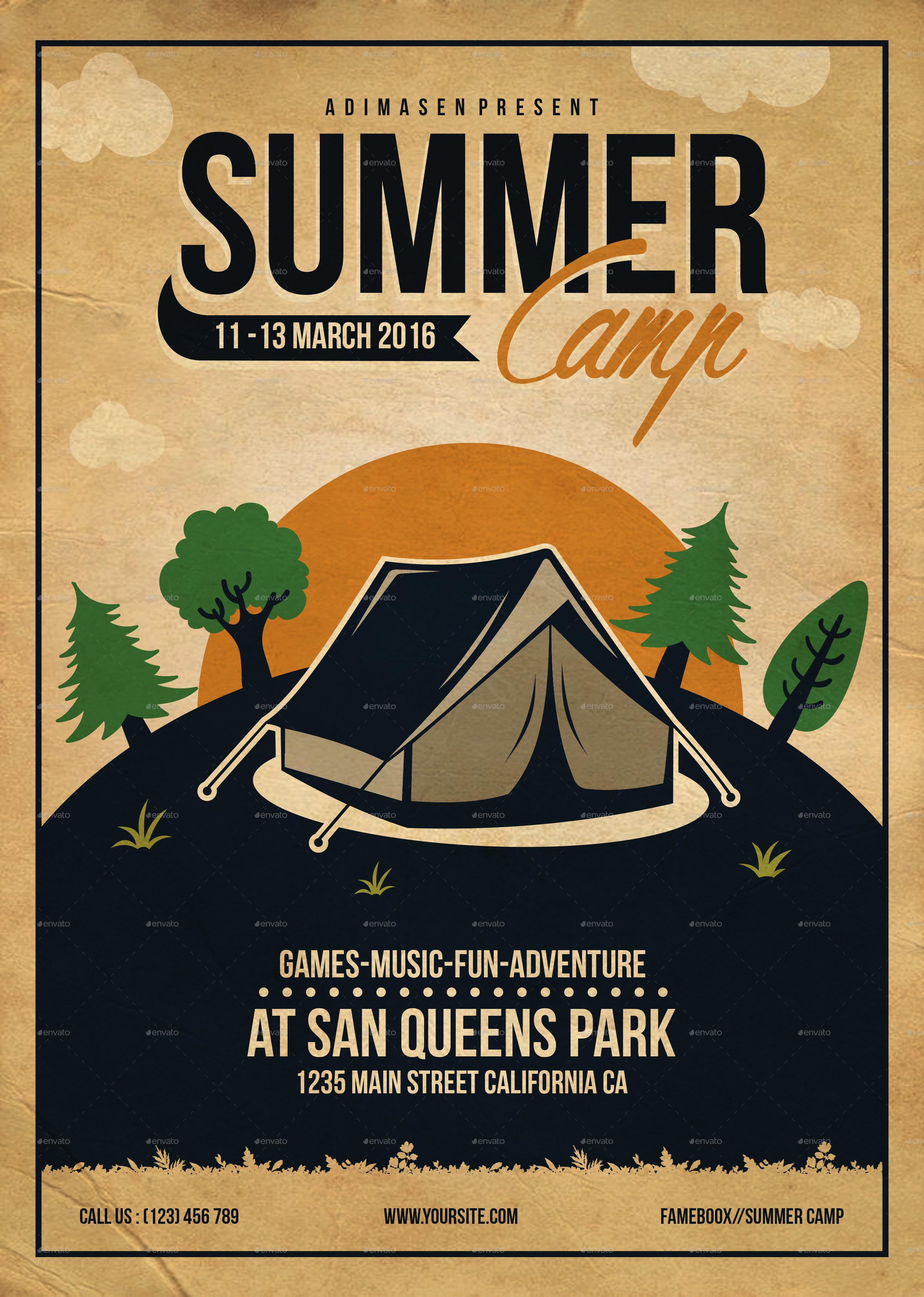 Summer Camp Flyer Template by adimasen – Camp Flyer Template