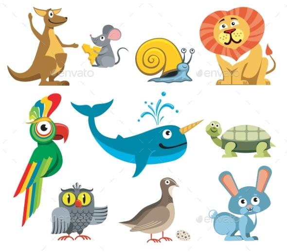 Animals Vector Set In Cartoon Style