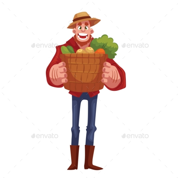 Man Holding Baskets Of Fruits And Vegetable