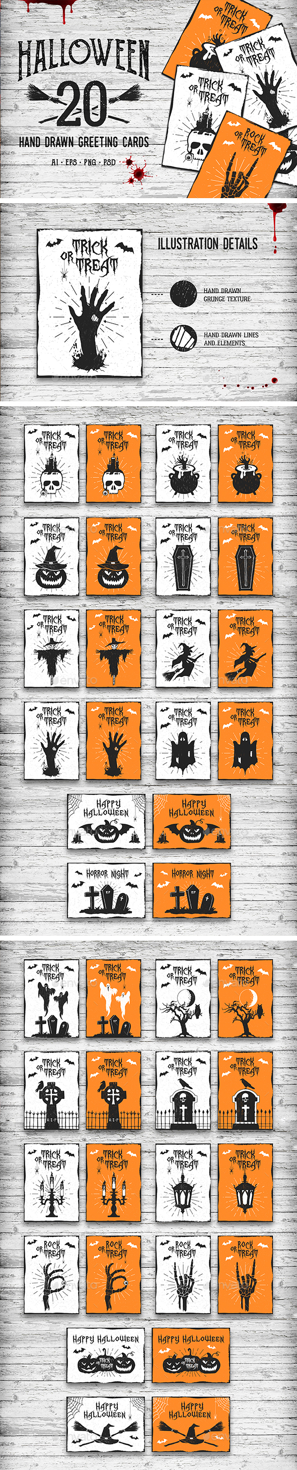 Halloween. 20 Greeting Cards